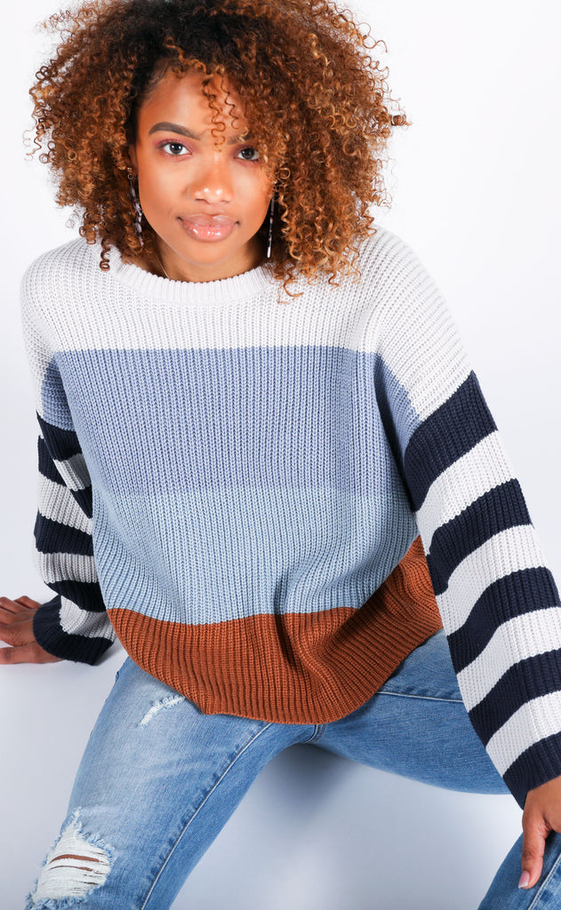 keep knit cool striped sweater - blue