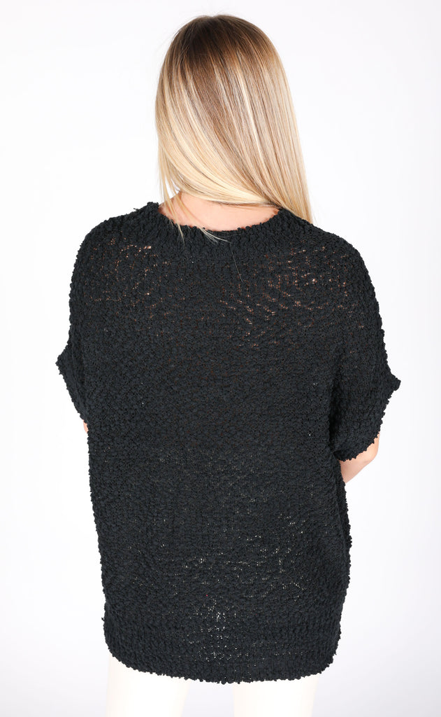 keep things simple lightweight sweater - black
