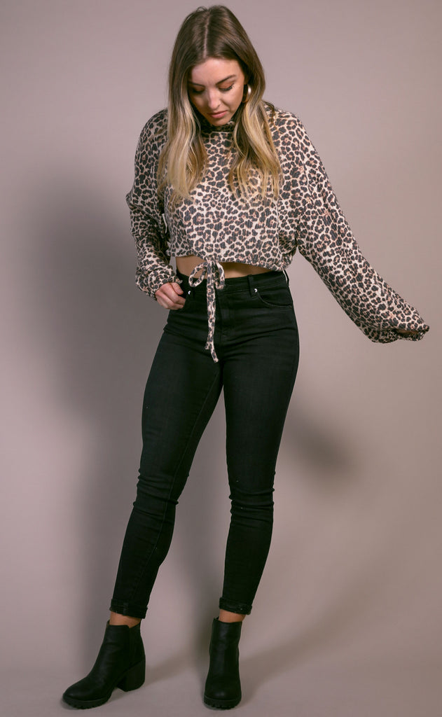 keep warm knit top - leopard