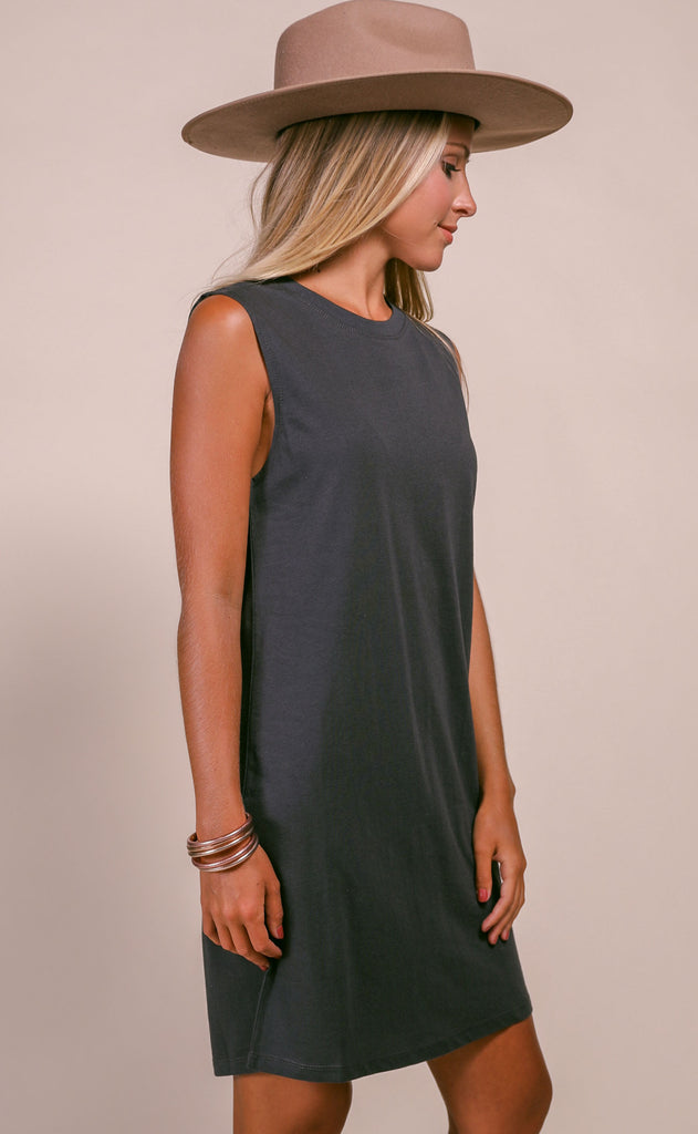 keep it casual basic dress - charcoal