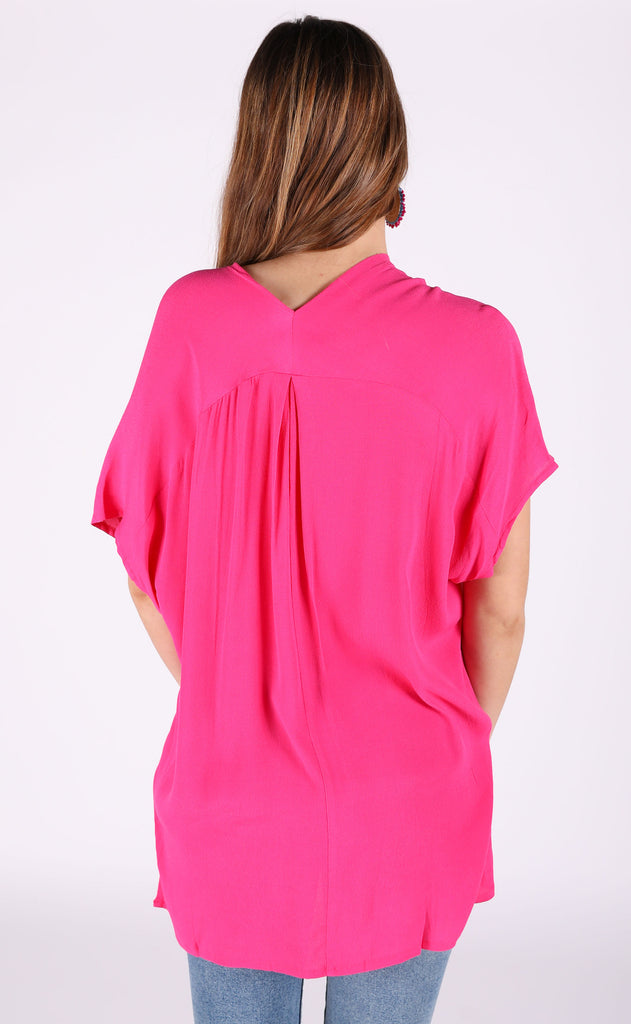 key west v-neck tunic - hot pink