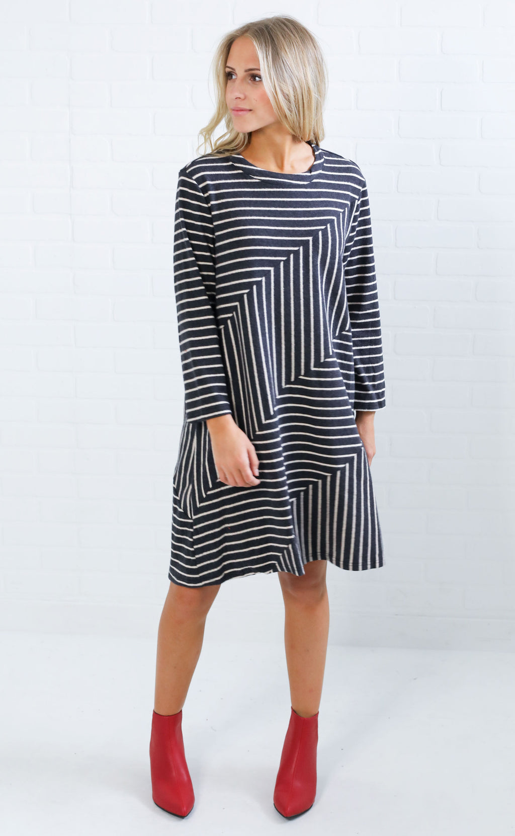 kind hearted striped dress