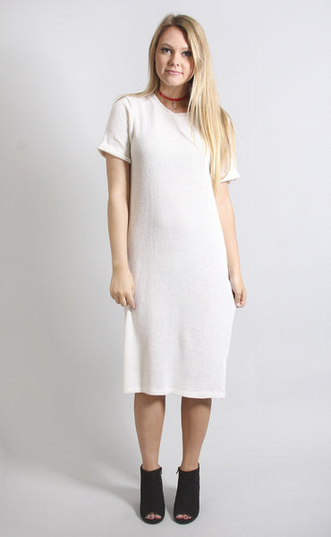 knit your average tee dress - ivory