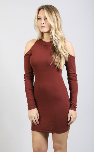 know it all open shoulder dress - burgundy