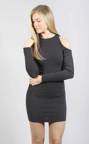 know it all open shoulder dress - charcoal