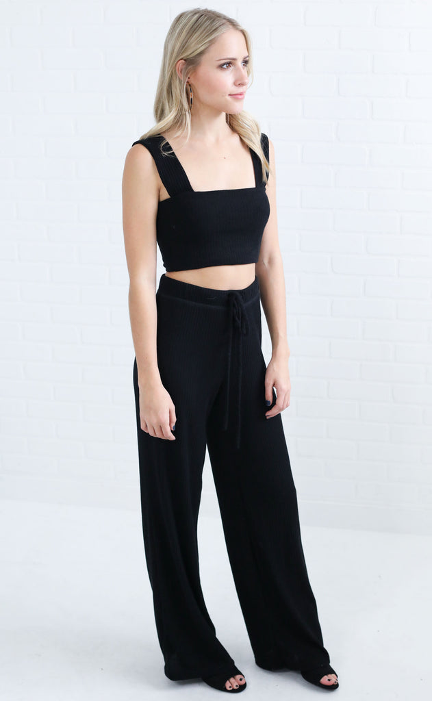 kylie ribbed two piece set - black