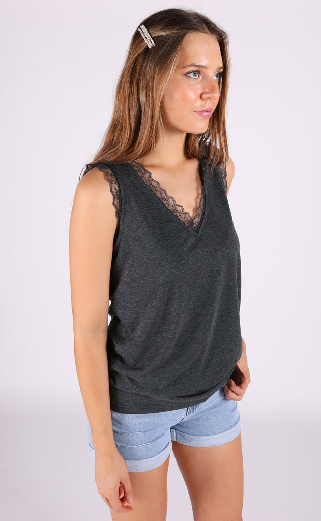 lace to the top tank top