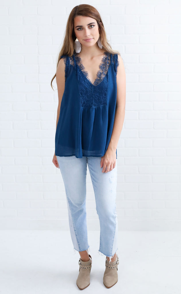 lace case chiffon blouse - navy