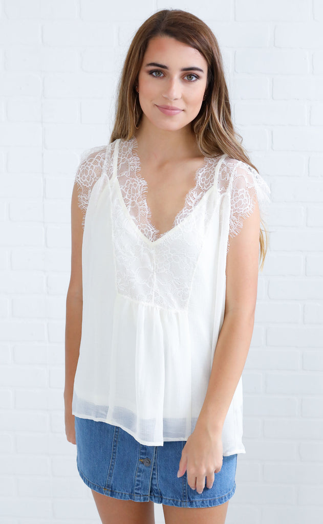 lace case chiffon blouse - ivory