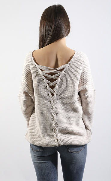 tough love lace up sweater - blush