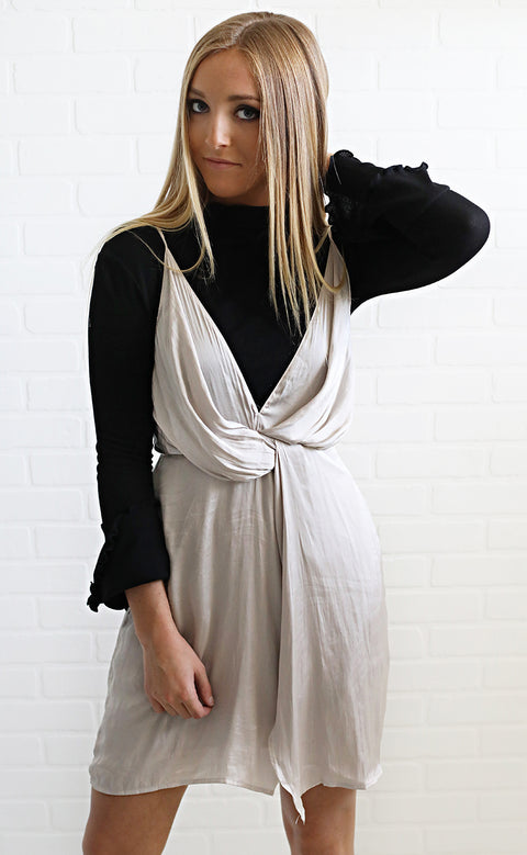 ladies night slip dress - taupe