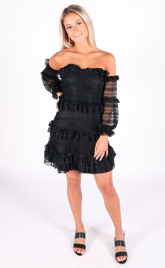 lady in lace ruffle dress