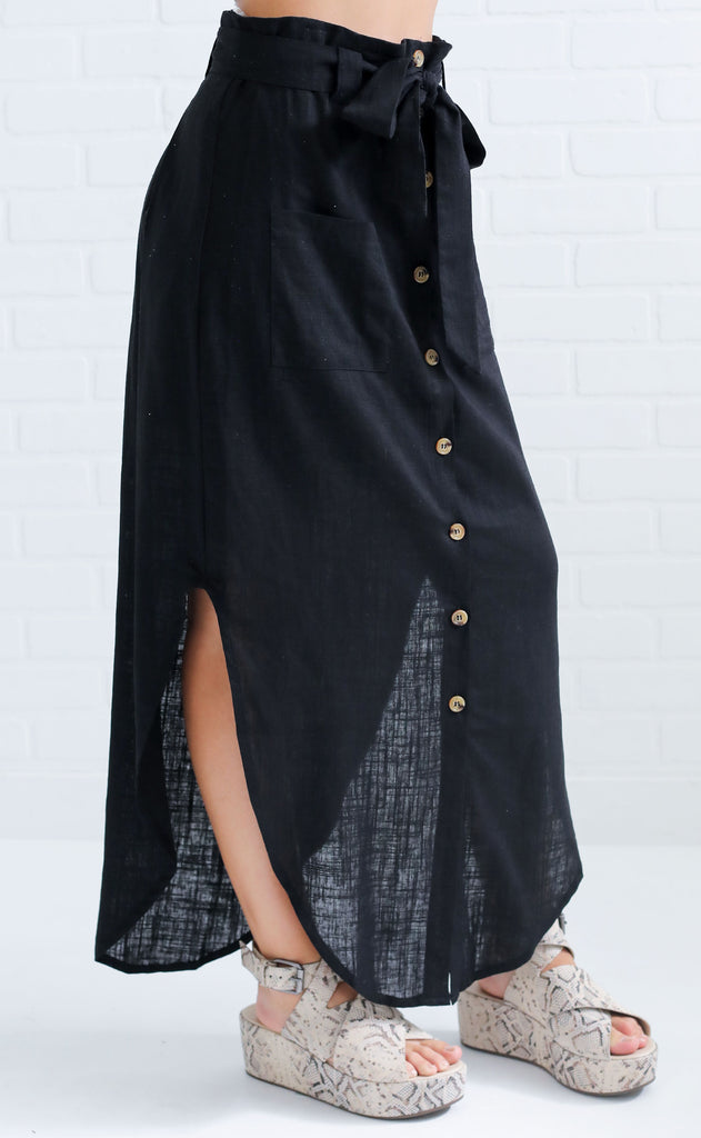 laid back button up skirt - black