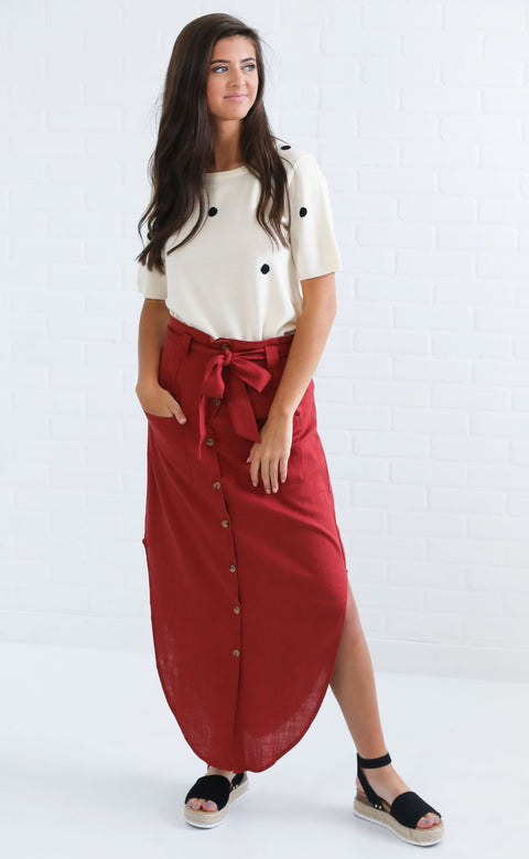 laid back button up skirt - brick red