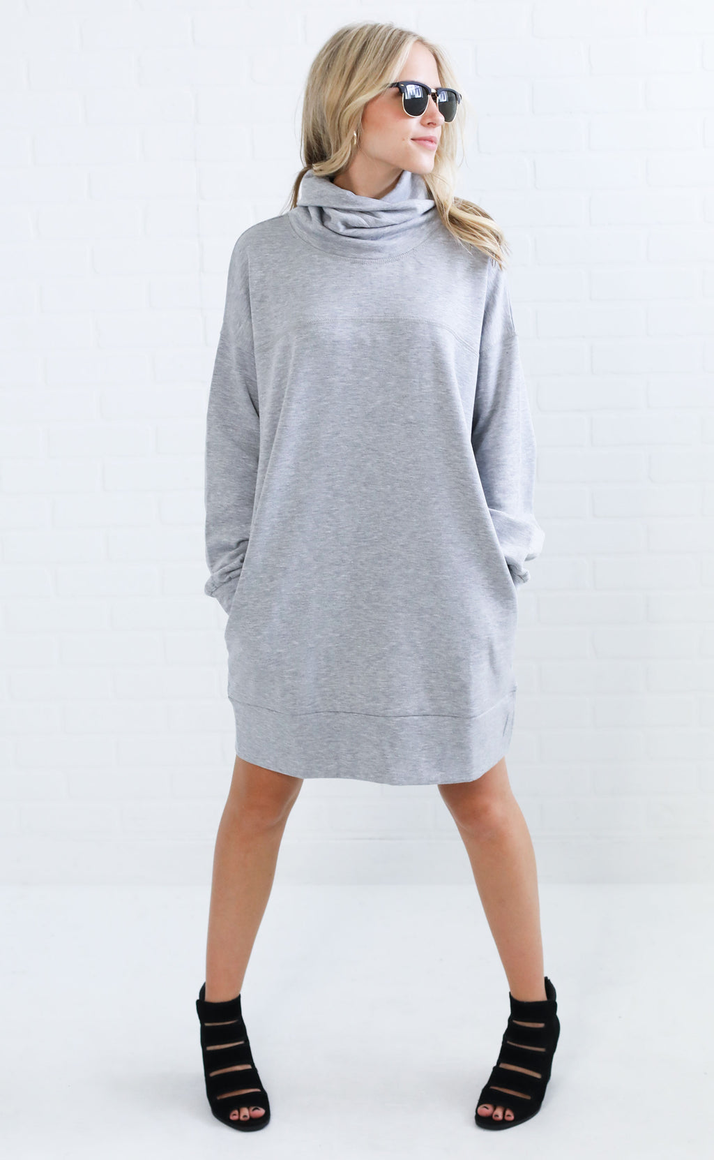 lazy lover tunic sweater - grey