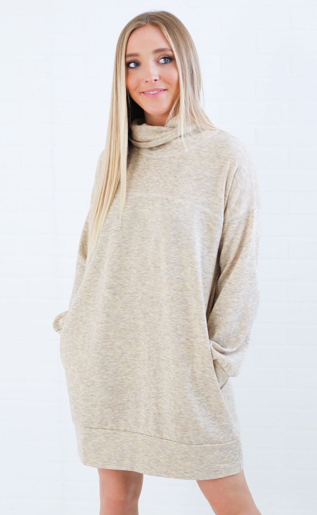 lazy lover tunic sweater - oatmeal