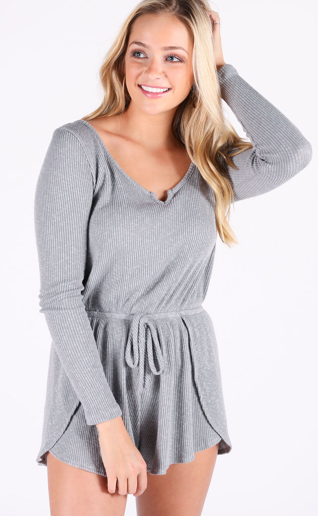 lazy sunday ribbed romper - grey