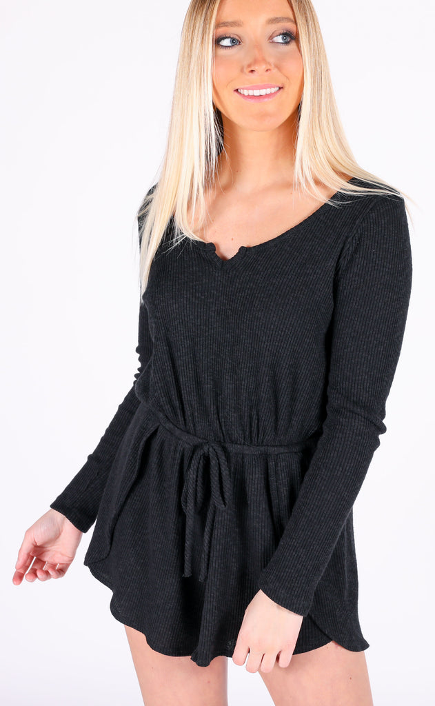 lazy sunday ribbed romper - black