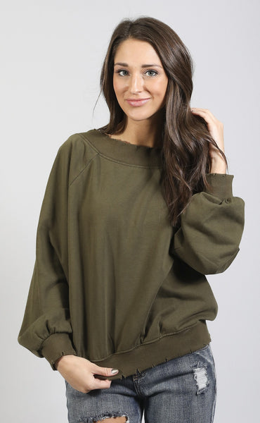 lean with it distressed sweatshirt - olive