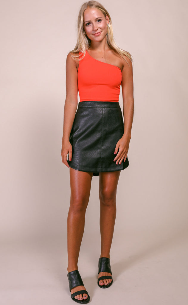 leather together mini skirt