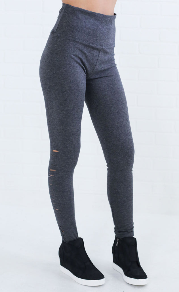leggy legend distressed leggings - grey
