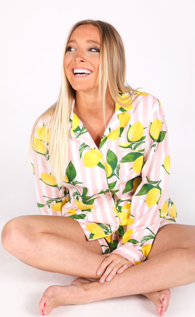 lemon printed pj set