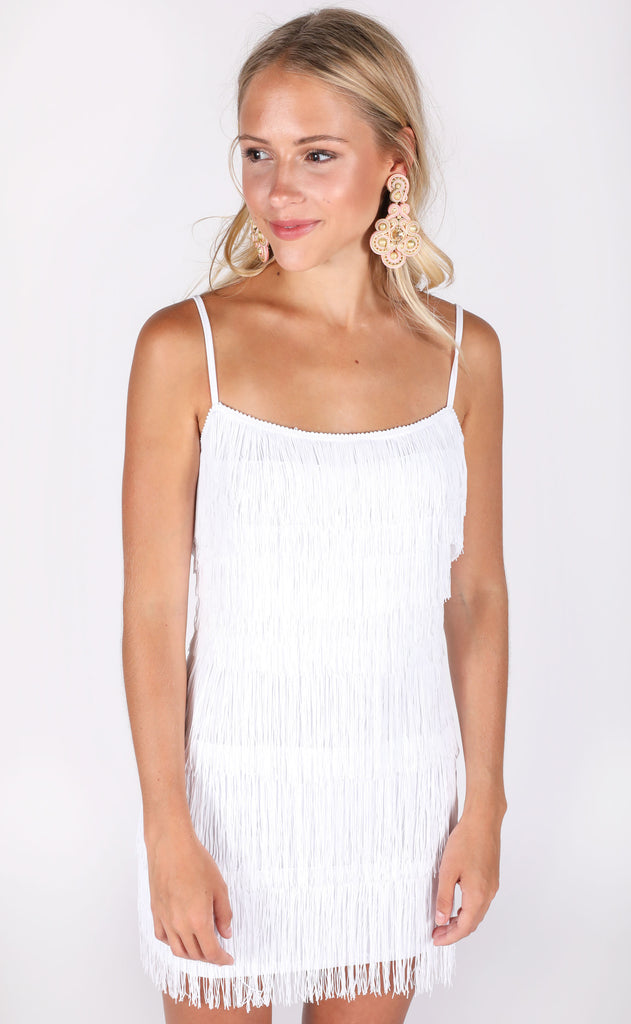 let's be fringe mini dress - ivory