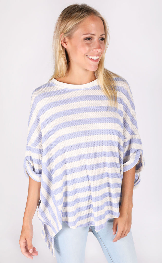 let's just chill striped top - blue