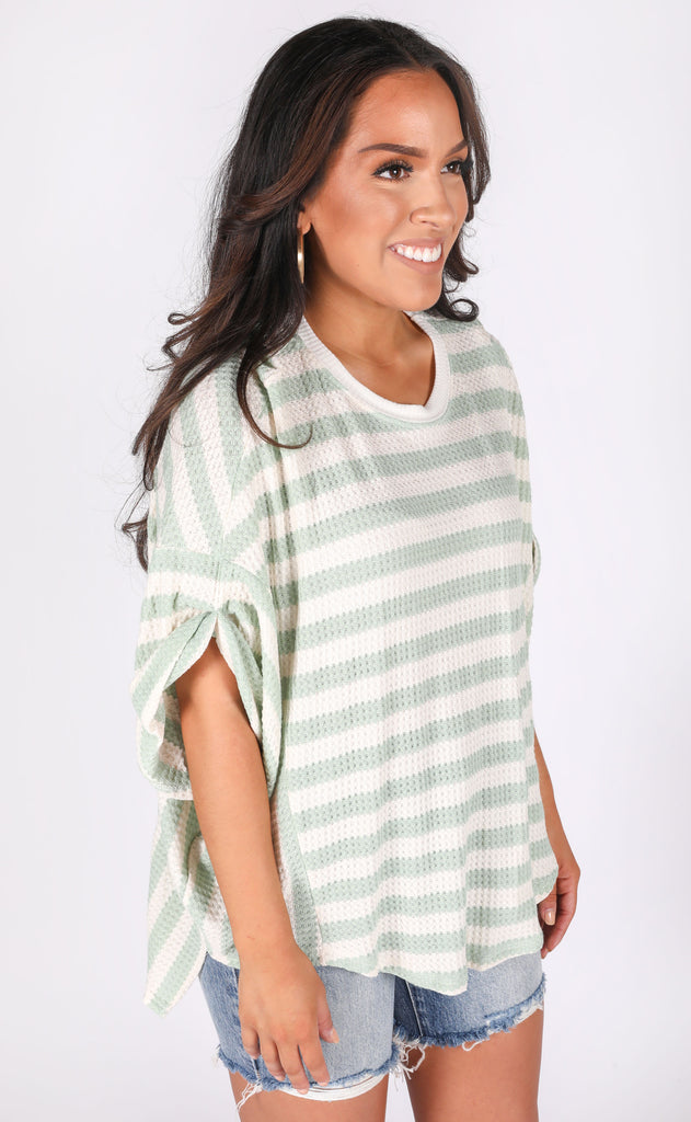 let's just chill striped top - sage