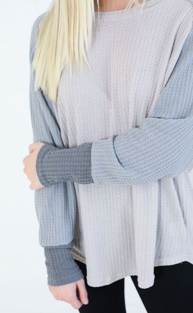 let's lounge waffle knit top - lilac/grey