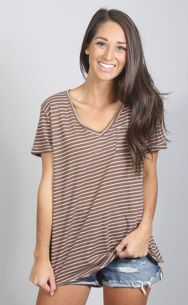 let's mocha deal striped t shirt