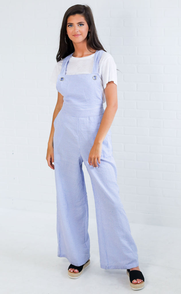 let's sail away striped jumpsuit
