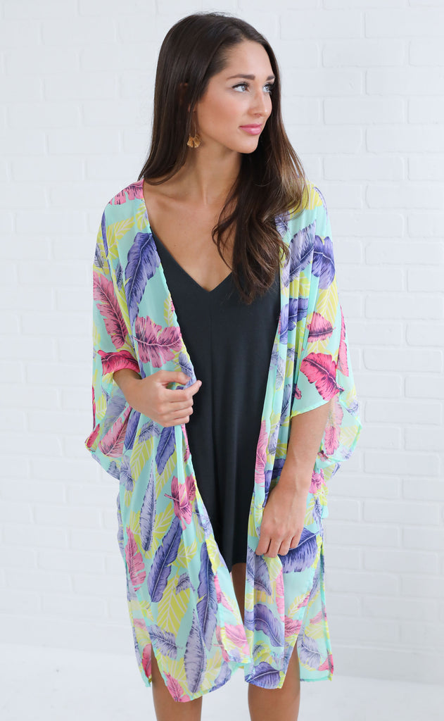 light as a feather printed kimono