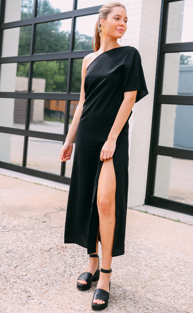 like magic one shoulder dress - black
