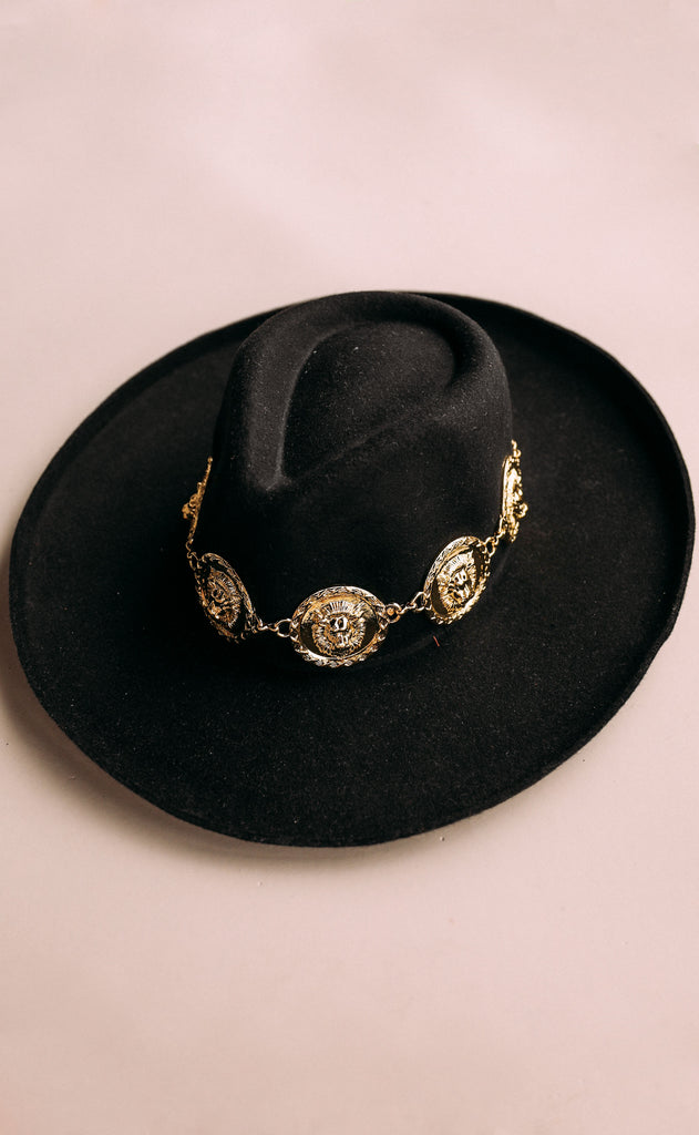 eastnwestlabel: lionheart chain hat - black