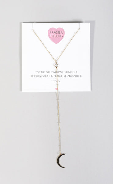frasier sterling: low rider long drop necklace - moon