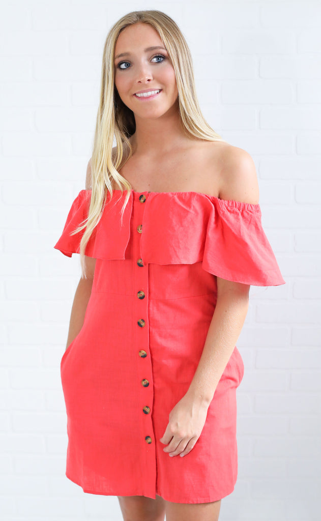 lookin good button up dress - red
