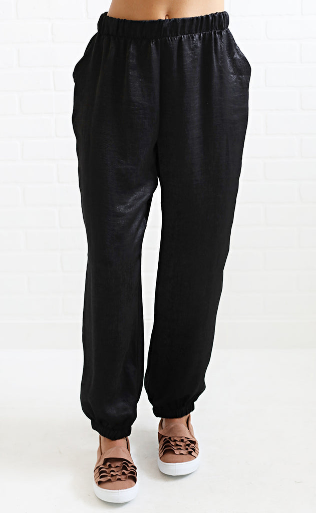 looking good silky pants - black