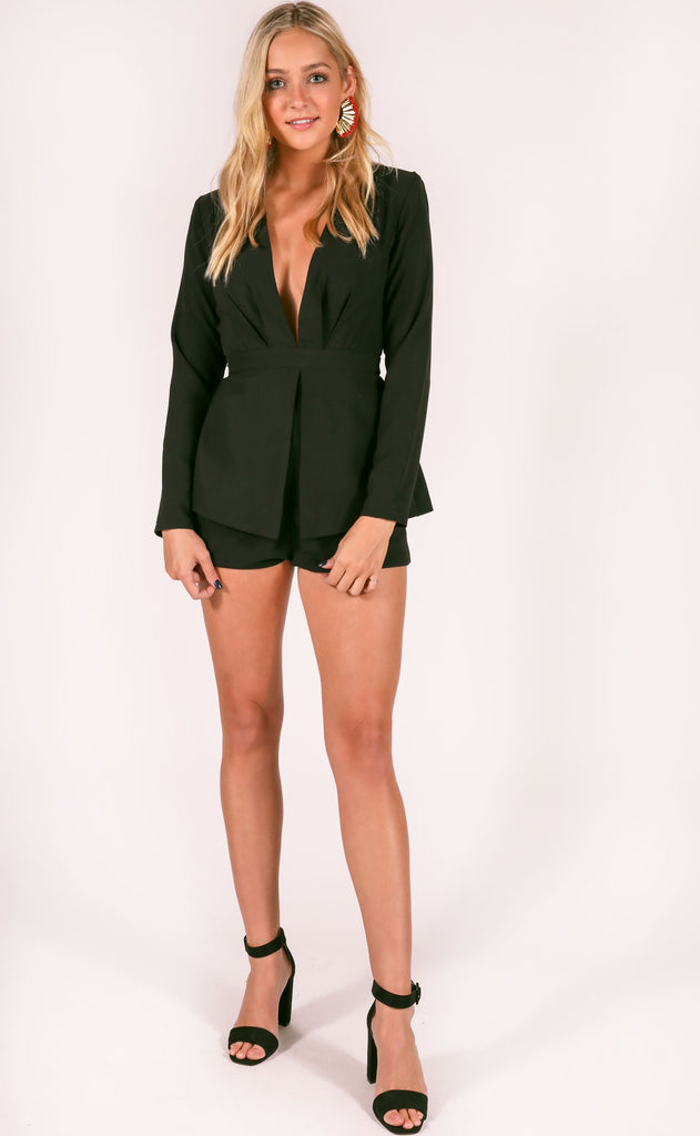 lots of love long sleeve romper - black