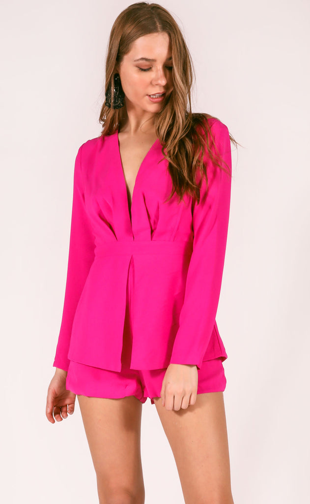 lots of love long sleeve romper - magenta