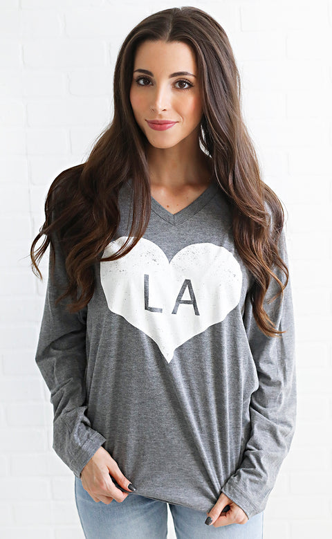charlie southern: vintage heart long sleeve t shirt - louisiana
