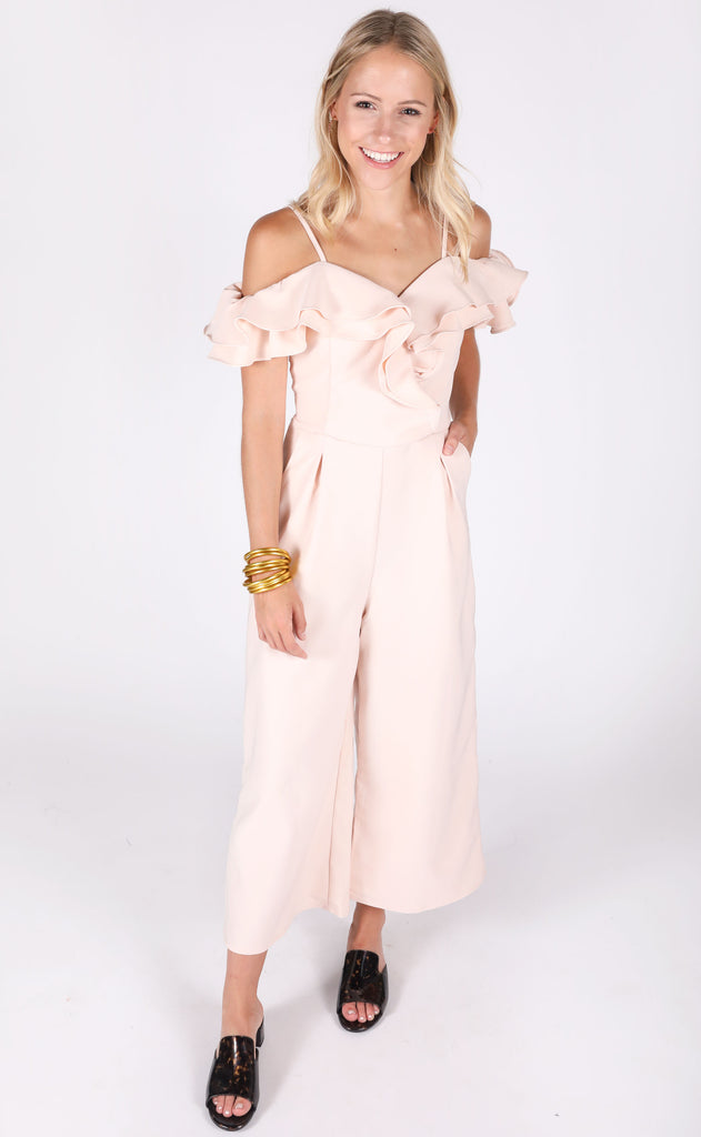 love galore ruffle jumpsuit - blush