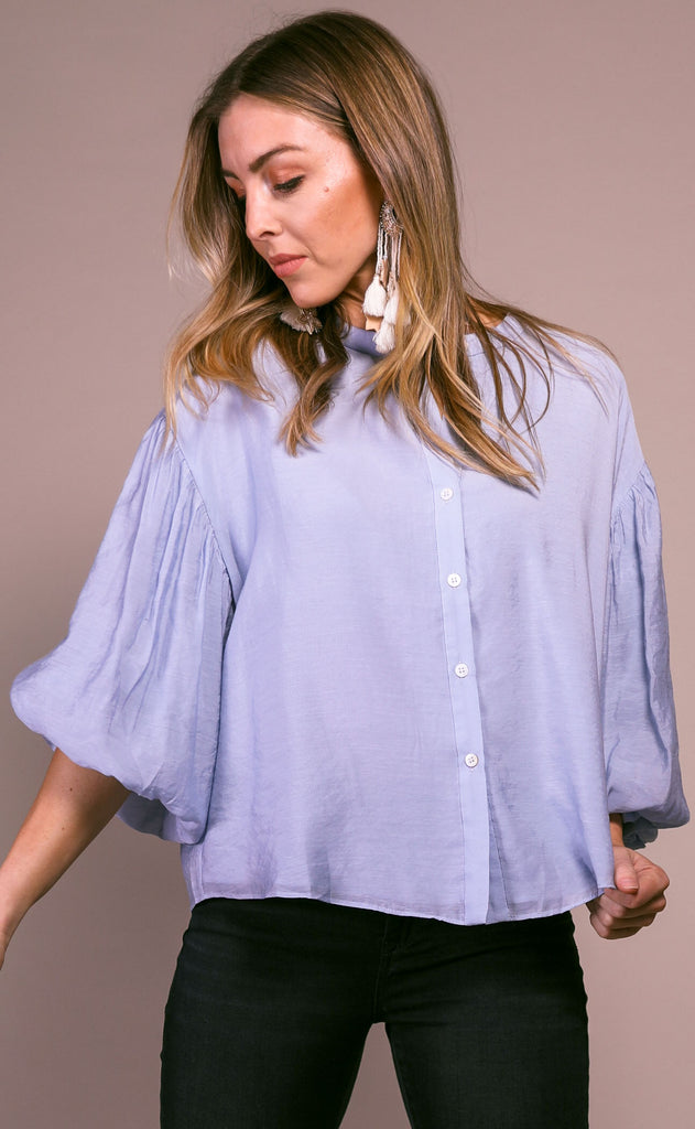 love always button up top - pearl blue