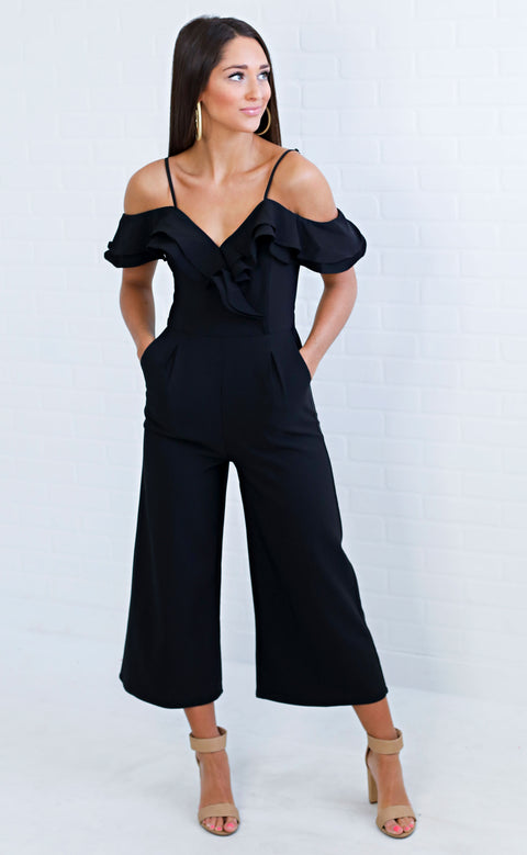 love galore ruffle jumpsuit - black