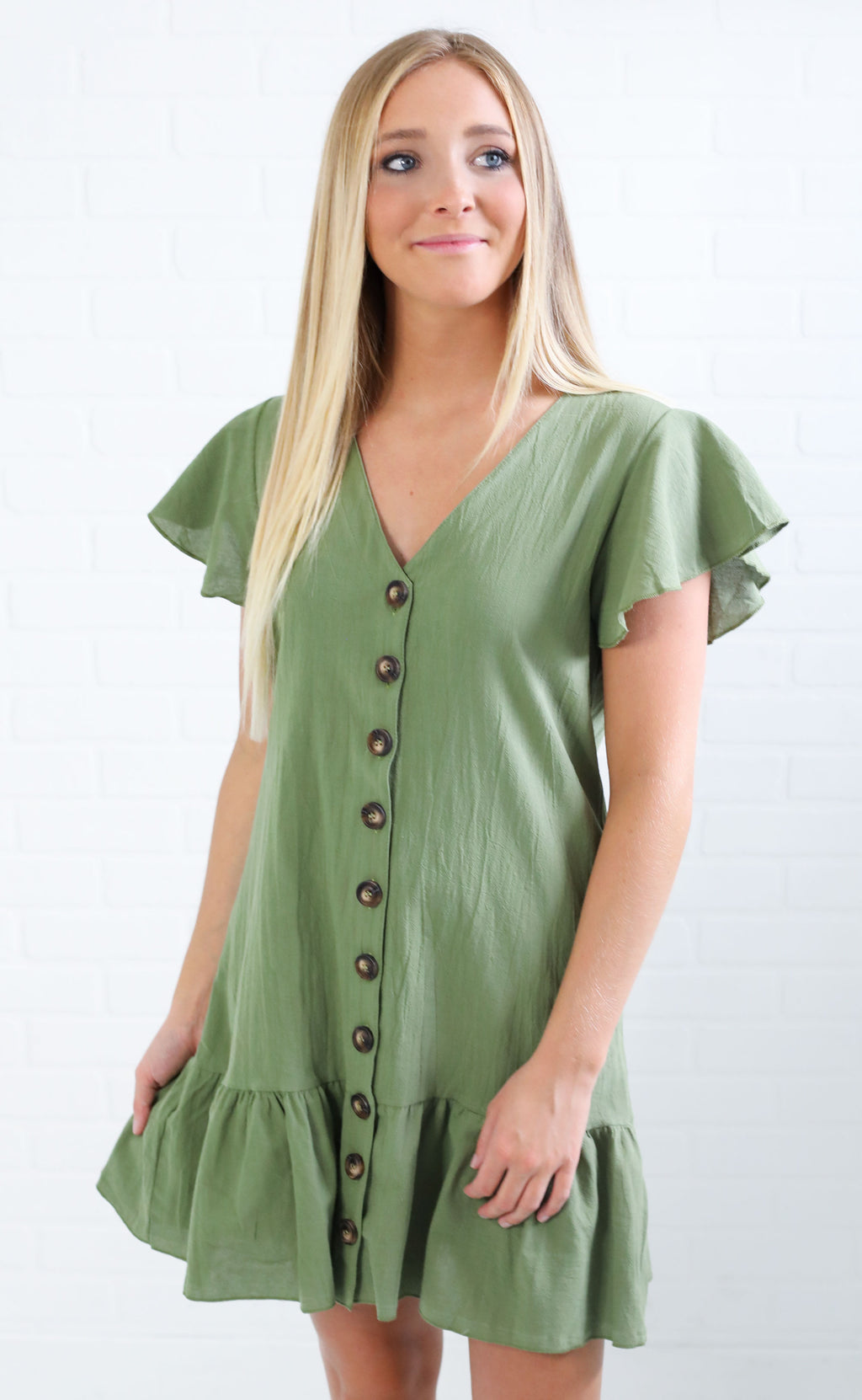 love shack button up dress - green