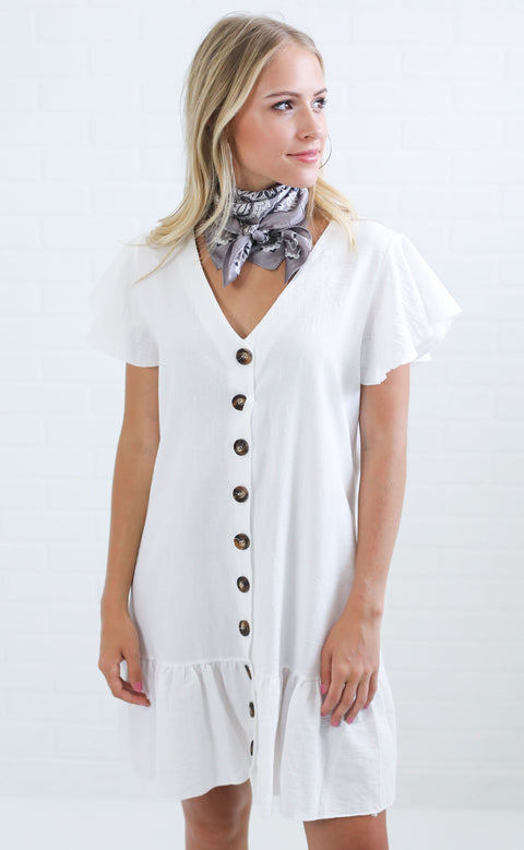 love shack button up dress - ivory