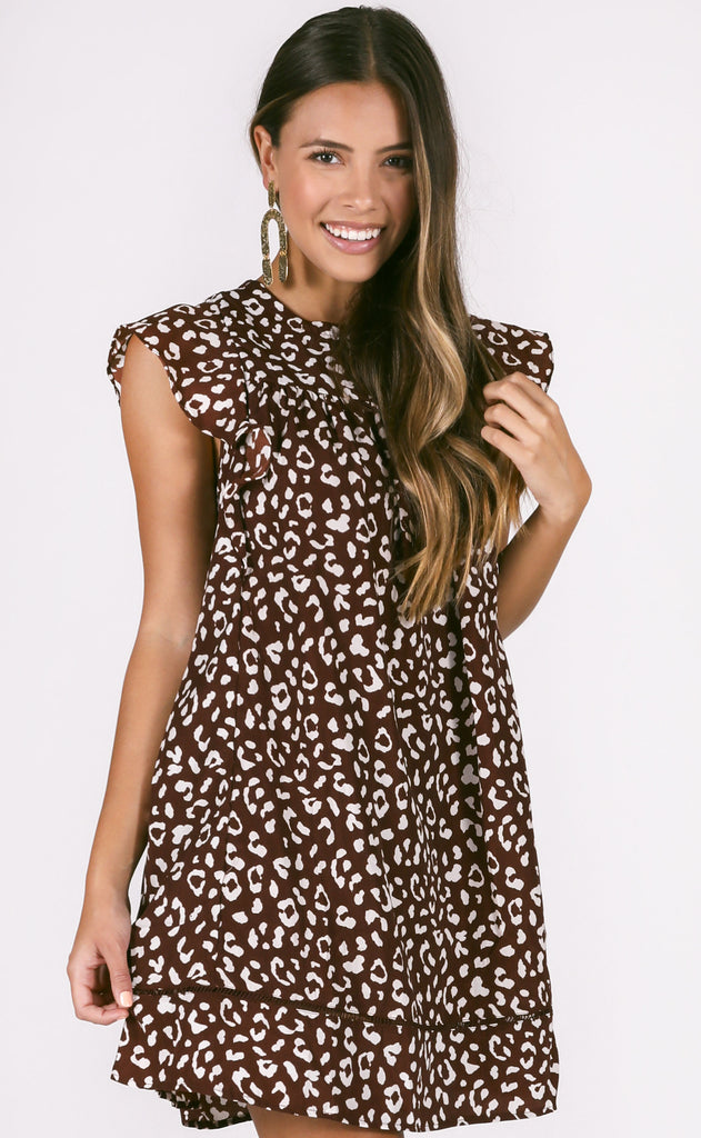 lovely in leopard babydoll dress - burgundy
