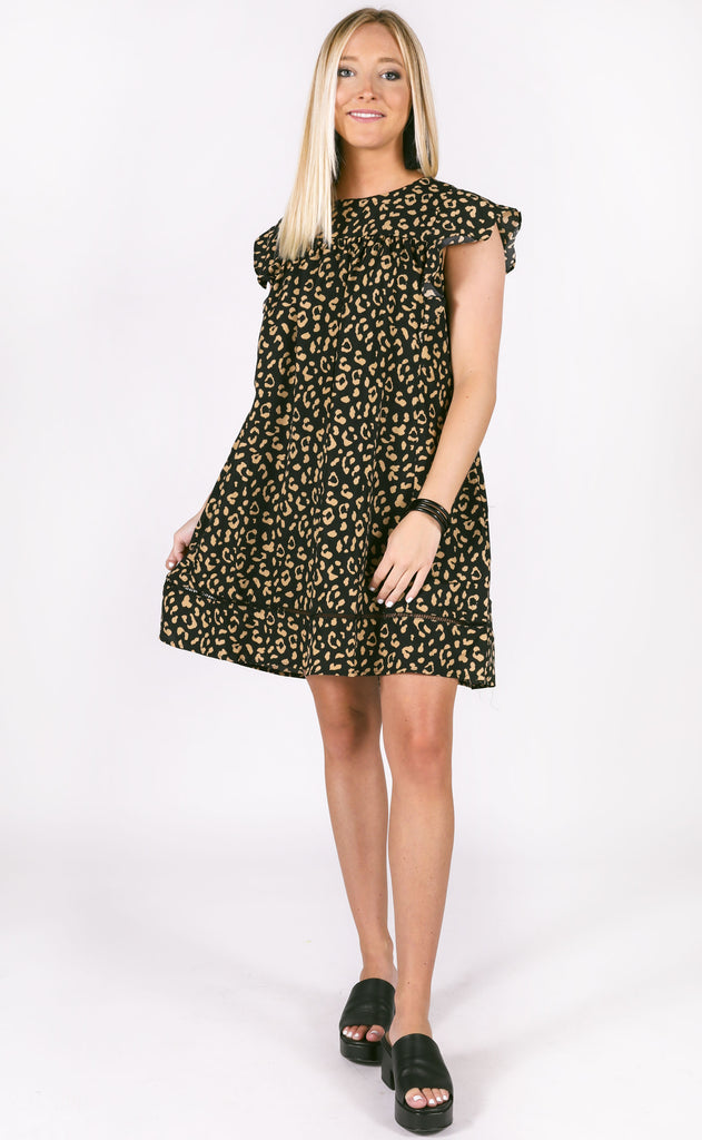 lovely in leopard babydoll dress - black