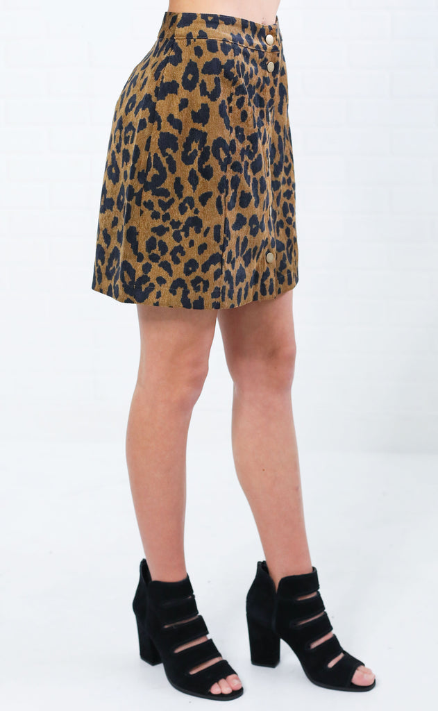 lovely in leopard button up skirt