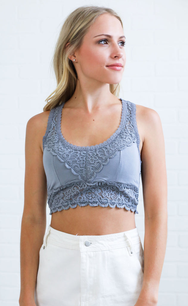 lovely lace bralette - grey